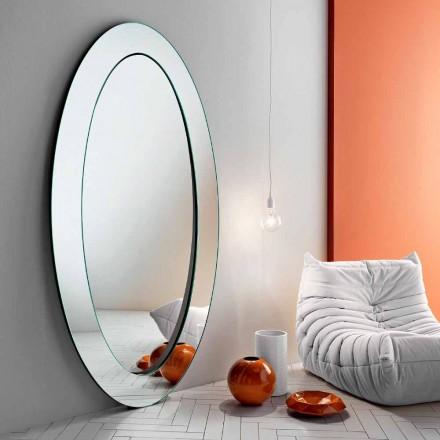 Moderní oválné volně stojící zrcadlo se šikmým rámem vyrobené v Itálii - Salamina