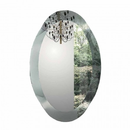 Oválné nástěnné zrcadlo z křišťálového skla vyrobeného v Itálii - Eclisse