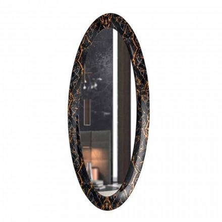 Dlouhé oválné nástěnné zrcadlo s rámem z mramorového efektu vyrobené v Itálii - Denisse
