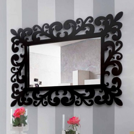 Velké moderní obdélníkové zrcadlo z černého dřeva - Manola