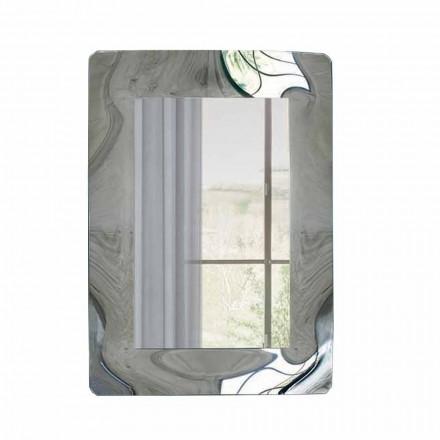 Obdélníkové zrcadlo s rámem z vlnitého skla vyrobené v Itálii - Vira