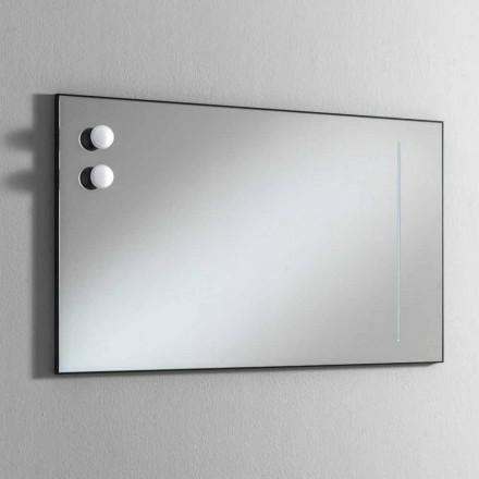 Nástěnné koupelnové zrcadlo se 2 žárovkami a černým rámem vyrobené v Itálii - rám