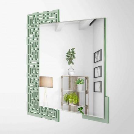 Čtvercové nástěnné zrcadlo v moderním designu ze zdobeného zeleného dřeva - labyrint