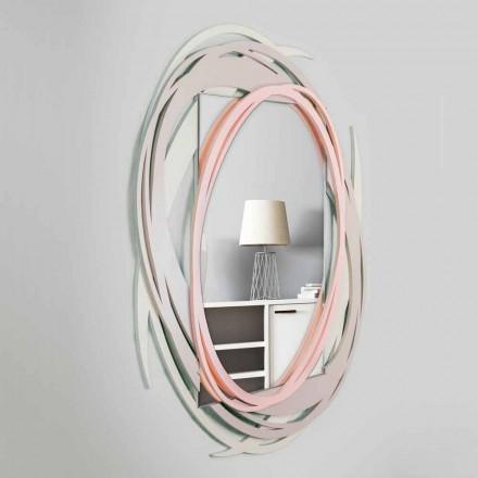 Moderní nástěnné zrcadlo s dekorativním designem v barevném dřevě - Orbita