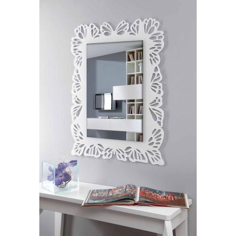 Bílé plexisklo se zrcadlem s zdobeným obdélníkovým rámem - Alidifarf
