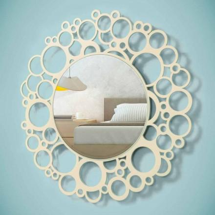 Kulaté nástěnné zrcadlo v hnědém dřevě moderního designu s rámem - čmelák
