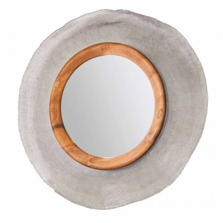 Moderní zrcadlo stěn v kovu a teaku Monno