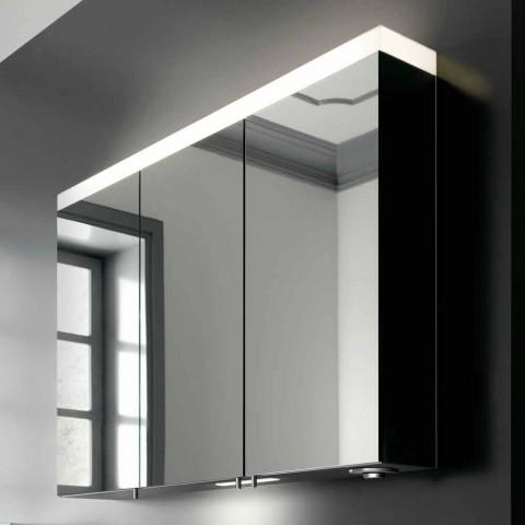 3dveřové nástěnné úložné zrcadlo ve stříbrně lakovaném hliníku - Alfio