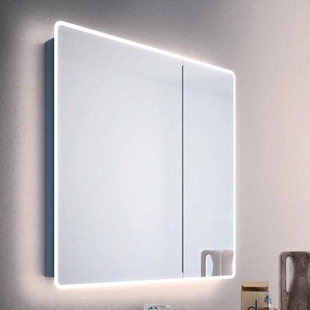 Zrcadlo moderní kontejner 2 koupelny dveře, s LED světly, Valter