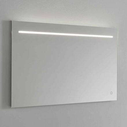 Moderní nástěnné zrcadlo s LED světlem a ocelovým rámem vyrobené v Itálii - Yutta