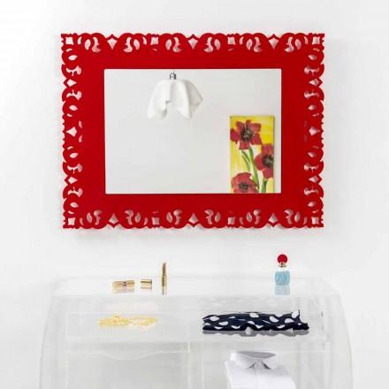 Zrcadlo červená stěna s ozdobnou Makramé Tonya made in Italy