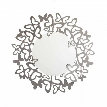 Kruhové nástěnné zrcadlo moderního designu v železo vyrobené v Itálii - Stelio