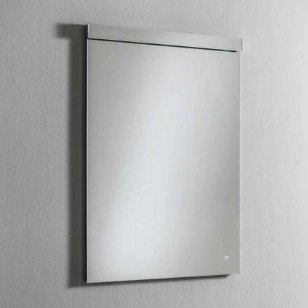 Nástěnné zrcadlo s integrovaným LED světlem z nerezové oceli vyrobené v Itálii - Tuccio