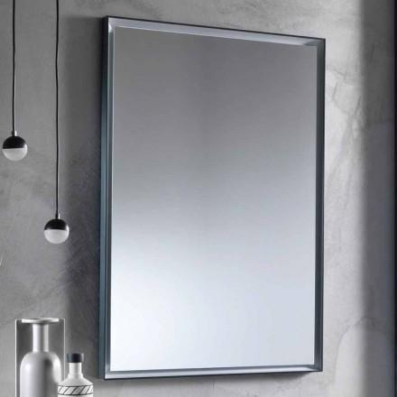 Nástěnné zrcadlo s hliníkovým rámem a LED světlem vyrobené v Itálii - Chik