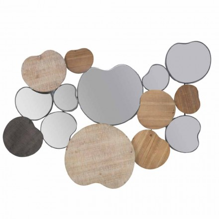 Moderní designové nástěnné zrcadlo ze dřeva a železa - Ortensio