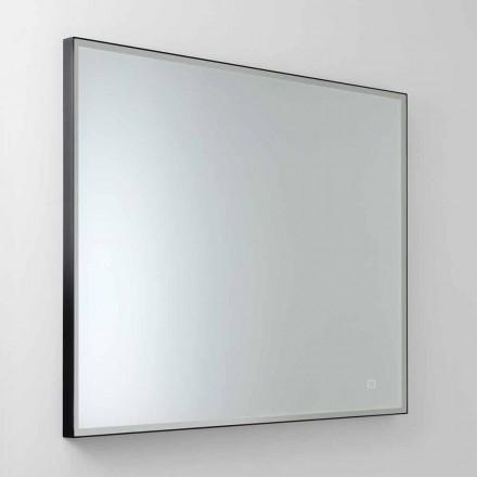 Čtvercové nástěnné zrcadlo s LED diodou ze saténového skla vyrobené v Itálii - Mirro