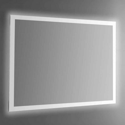 Podsvícené nástěnné zrcadlo s pískovaným rámem vyrobené v Itálii - Edigio