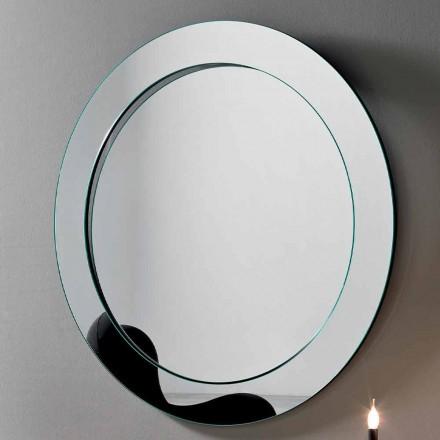 Kulaté nástěnné zrcadlo se šikmým rámem vyrobené v Itálii - Salamina