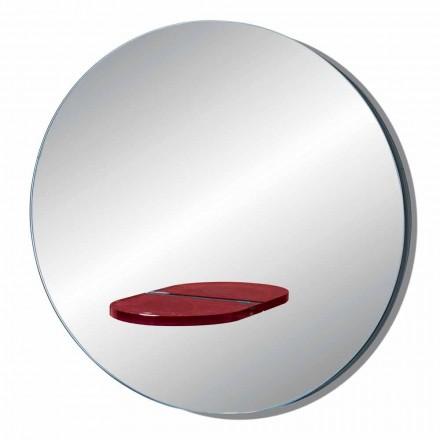 Kulaté nástěnné zrcadlo s barevnou skleněnou policí vyrobené v Itálii - Eliza