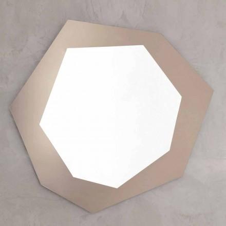 Tvarované nástěnné zrcadlo se skleněným rámem vyrobené v Itálii - chlor