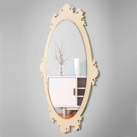 Vintage hnědé dřevěné nástěnné zrcadlo s rámečkem - Giangio