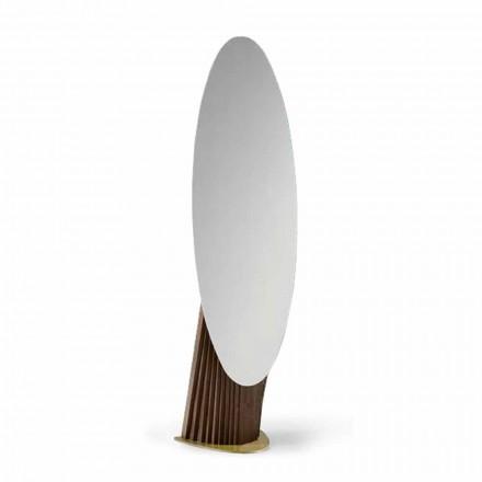 Luxusní podlahové zrcadlo z jasanového dřeva a kovu vyrobené v Itálii - Cuspide