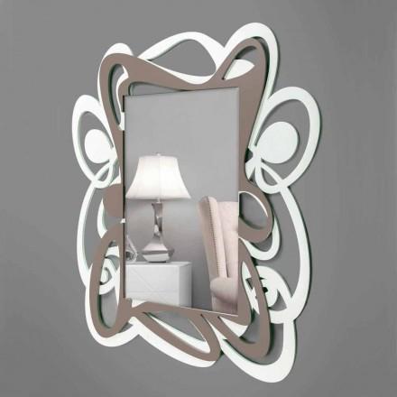 Velké moderní design bílé a béžové dekorativní nástěnné zrcadlo - Bocchio