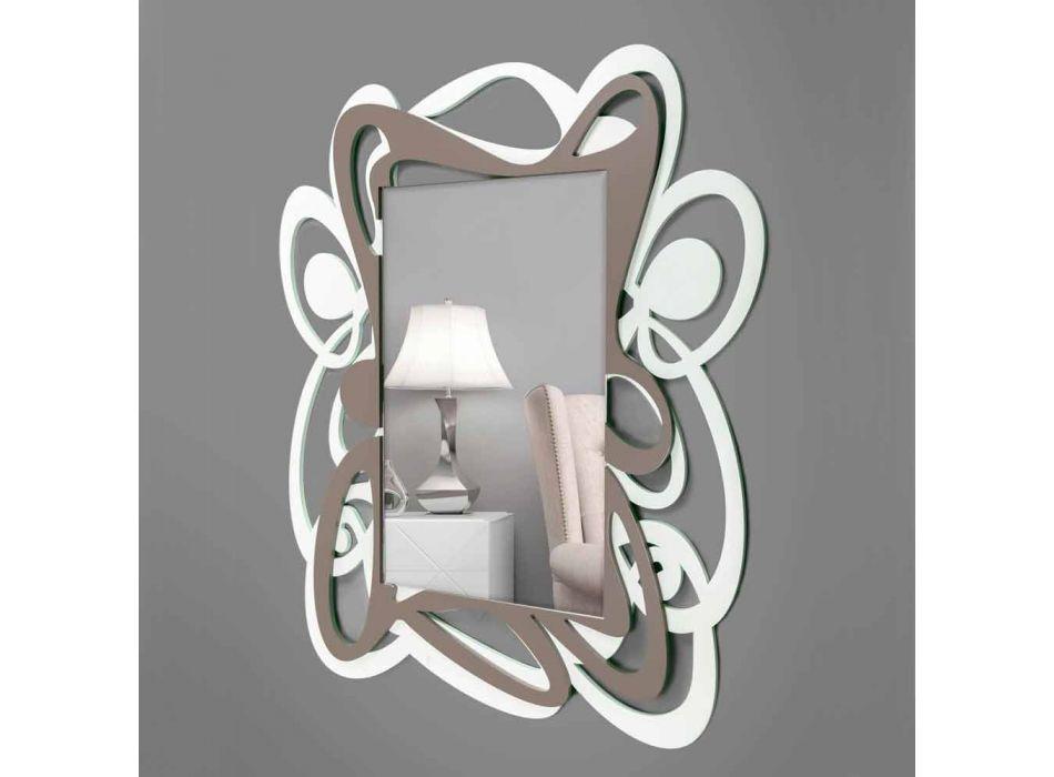 Bílé a béžové velké moderní designové dekorativní zrcadlo - Bocchio