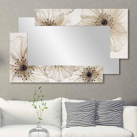 Nástěnné zrcadlo s dvojitým ellem vyrobené v Itálii Pískovaný design