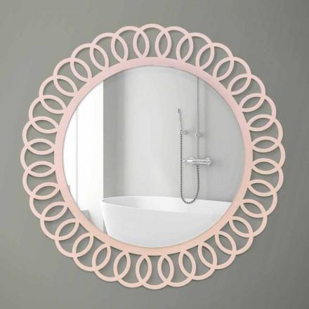 Velké nástěnné zrcadlo dekorativního a moderního designu v růžovém dřevě - koruna