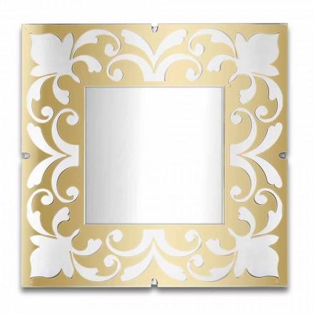 Čtvercový zrcadlový rám v provedení plexisklo zlato, bronz, stříbro - Foscolo