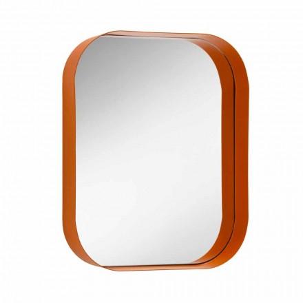 Zaoblené obdélníkové zrcadlo, kovový rám vyrobený v Itálii - Alexandra
