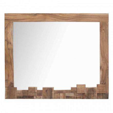 Obdélníkové moderní nástěnné zrcadlo s akátovým dřevěným rámem - Eloise
