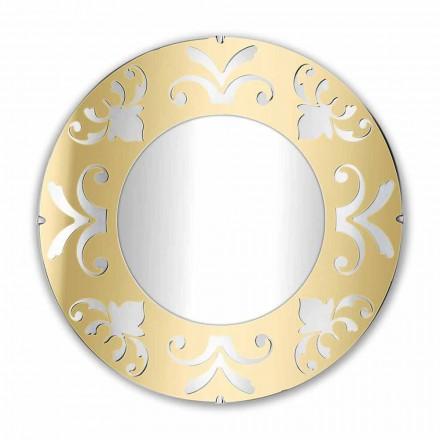 Kulaté designové zrcadlo ve zlatě stříbrném nebo bronzovém plexiskle s rámečkem - Foscolo
