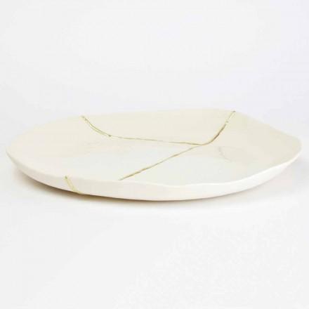Kulatý vanička s bílým porcelánovým a zlatým listovým designem - Cicatroro