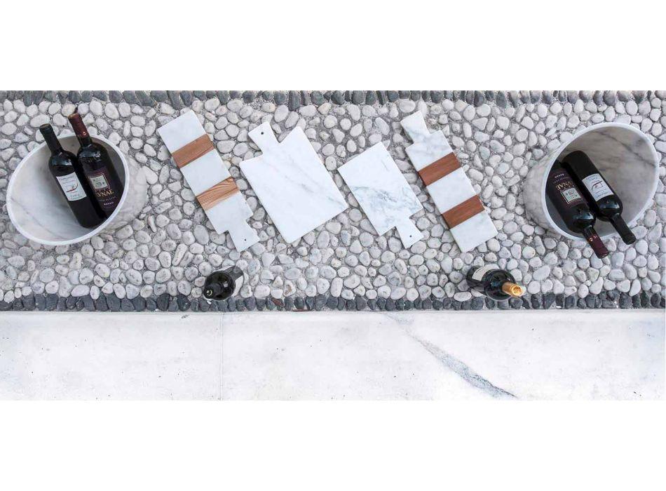 Bílý mramor Carrara a dřevo vyrobené v Itálii Design Cutting Board - Evea
