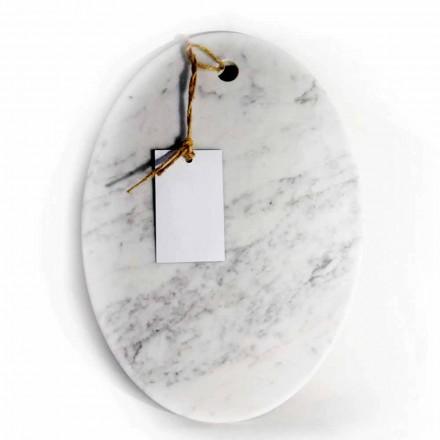 Moderní oválné prkénko v bílém mramoru Carrara vyrobené v Itálii - Masha