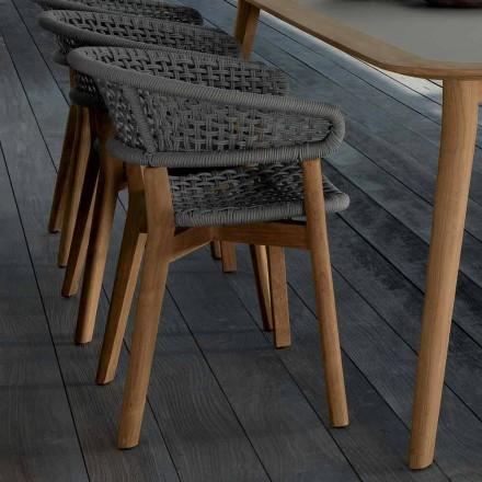 Talenti Moon židle v přírodním teaku pro design zahrady vyrobené v Itálii