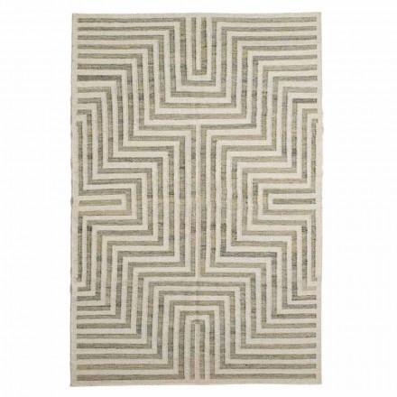 Moderní vlněný a bavlněný vzorovaný koberec do obývacího pokoje - Carioca