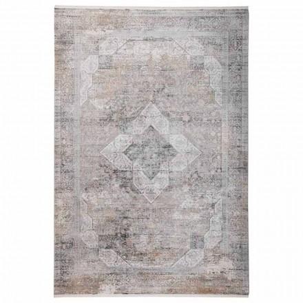Designový koberec v šedé béžové viskóze a akryl s kresbou - předseda