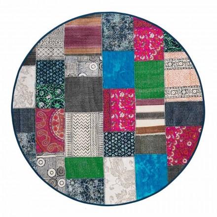 Kulatý etnický koberec z barevné bavlněné tkaniny - vlákna