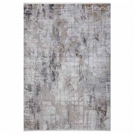 Protiskluzový koberec v šedé béžové viskóze a akrilu s kresbou - předsedající