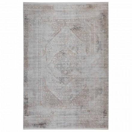 Protiskluzový koberec v šedé béžové akrylové a viskóze s kresbou - předsedající