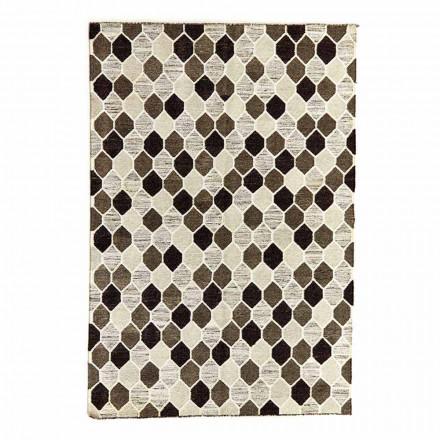 Moderní designový koberec s geometrickým vzorem ve vlně a bavlně - tapioka