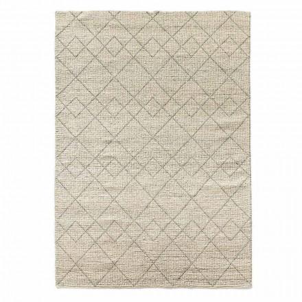 Moderní koberec do obývacího pokoje ručně tkaný ve vlněném geometrickém designu - Geome