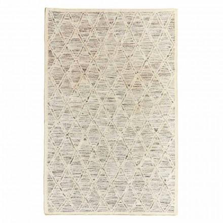 Moderní koberec z vlny a bavlny ze slonoviny s fantasy pro obývací pokoj - Peppo