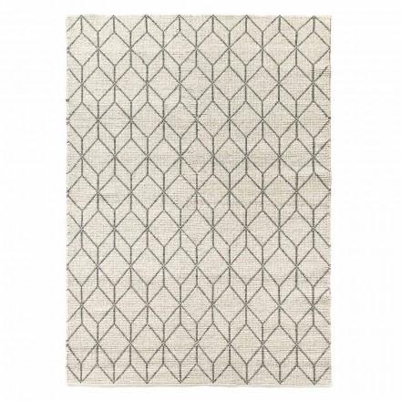 Moderní ručně tkaný koberec s geometrickým designem ve vlně do obývacího pokoje - Geome