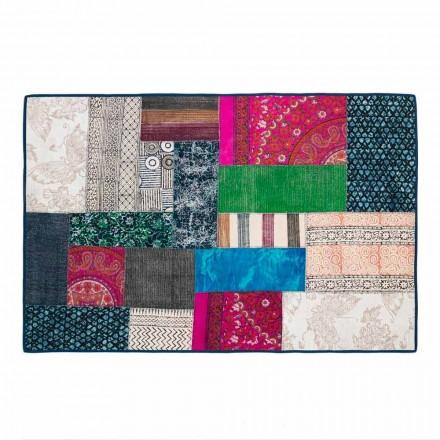 Obdélníkový koberec z modré bavlny Kilim nebo barevného patchworku - vlákno