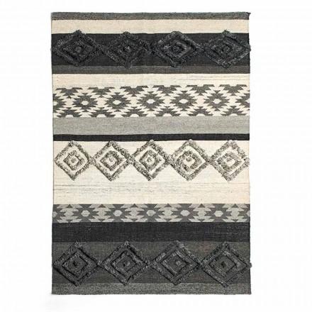 Obdélníkový koberec z vlny, bavlny a viskózy pro moderní obývací pokoj - Zorro
