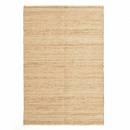 Obdélníkový koberec v moderním designu z vlny, juty a bavlny pro obývací pokoj - Remino